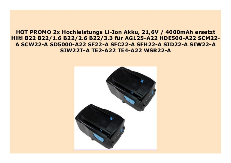 Akku 21,6V 4000mAh für Hilti SD5000-A22 SF22-A SFC22-A SFH22-A SID22-A