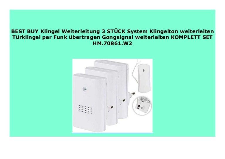 Klingel Weiterleitung 2 ST/ÜCK System Klingelton weiterleiten T/ürklingel per Funk /übertragen Gongsignal weiterleiten KOMPLETT SET HM.70861.W