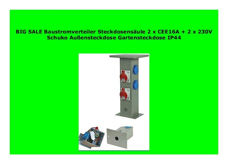 Baustromverteiler Steckdosensäule 4 x 230V Schuko Außensteckdose Gartensteckdose