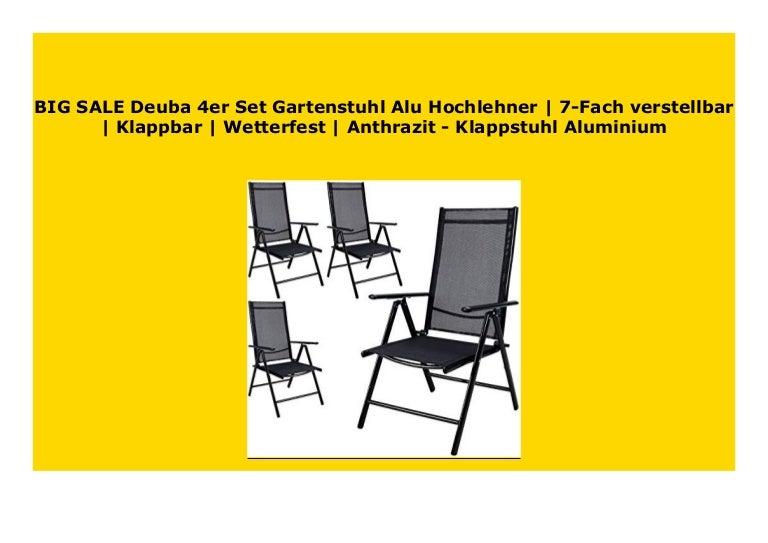 Sell Deuba 4er Set Gartenstuhl Alu Hochlehner 7 Fach