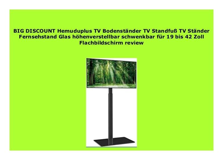 Hemuduplus TV Bodenst/änder TV Standfu/ß TV St/änder Fernsehstand Glas h/öhenverstellbar schwenkbar f/ür 19 bis 42 Zoll Flachbildschirm
