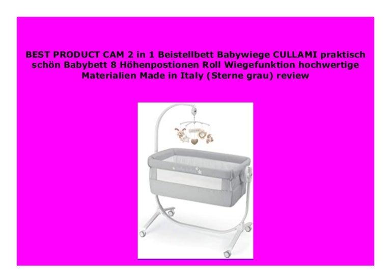 CAM 2 in 1 Beistellbett /& Babywiege CULLAMI praktisch /& sch/ön hochwertige Materialien Sterne grau h/öhenverstellbares Babybett Reisebett Made in Italy