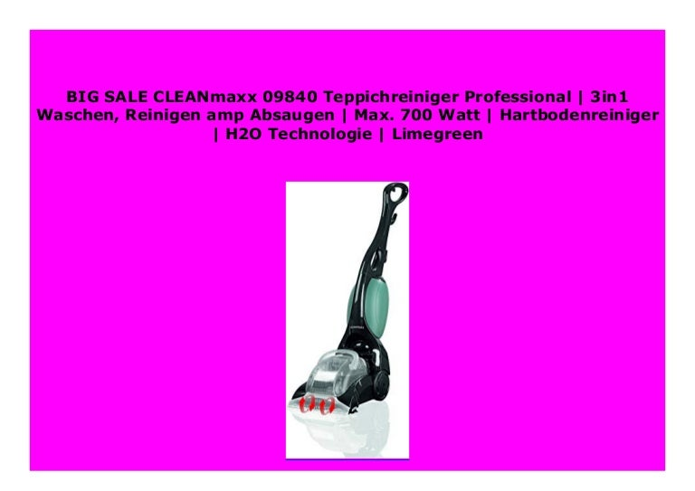 Reinigen  Absaugen CLEANmaxx 09840 Teppichreiniger Professional3in1 Waschen