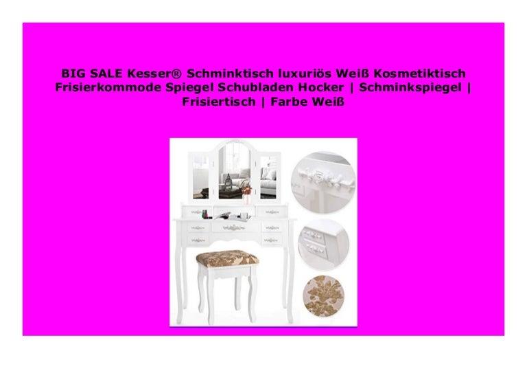 Schminkspiegel Frisiertisch Rosen Farbe: Wei/ß Kesser/® Schminktisch luxuri/ös Wei/ß Kosmetiktisch Frisierkommode Spiegel Schubladen Hocker