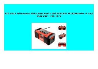 BEST SELLER Milwaukee Akku Netz Radio 4933451251 M18JSRDAB+ 0 18,0 Volt XXX, 1 W, 18 V 185