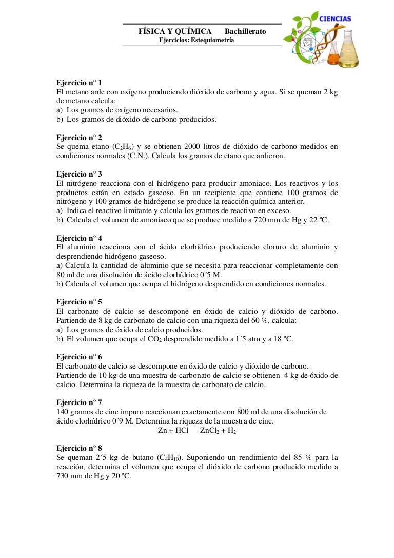 Excepcional EstequiometrÃa Problemas Molares Mol Hoja De Cálculo ...