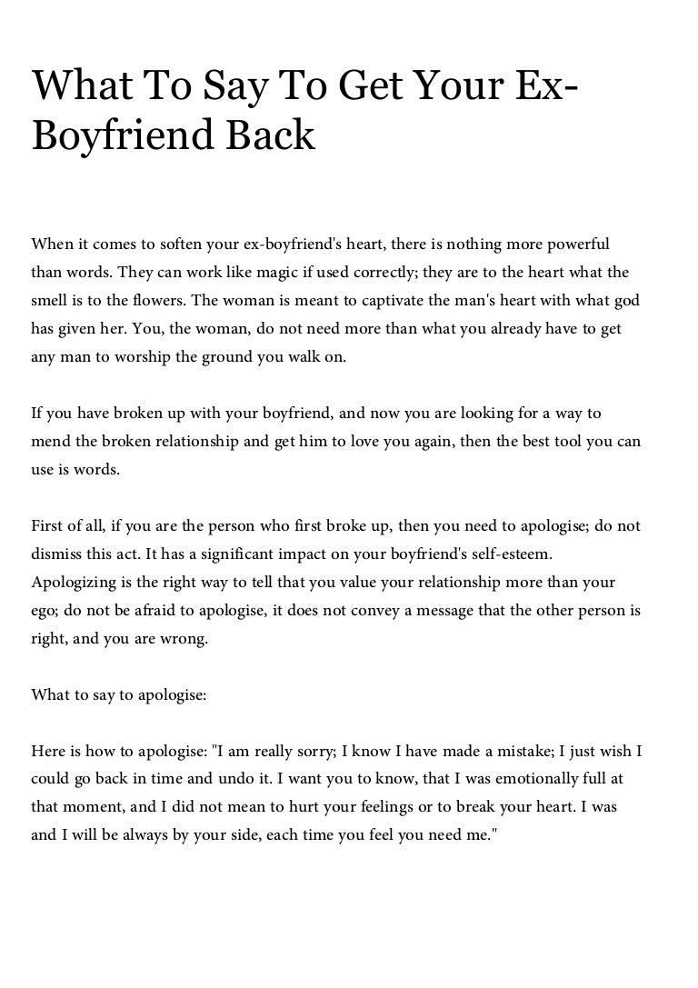 What to say to get your ex boyfriend back