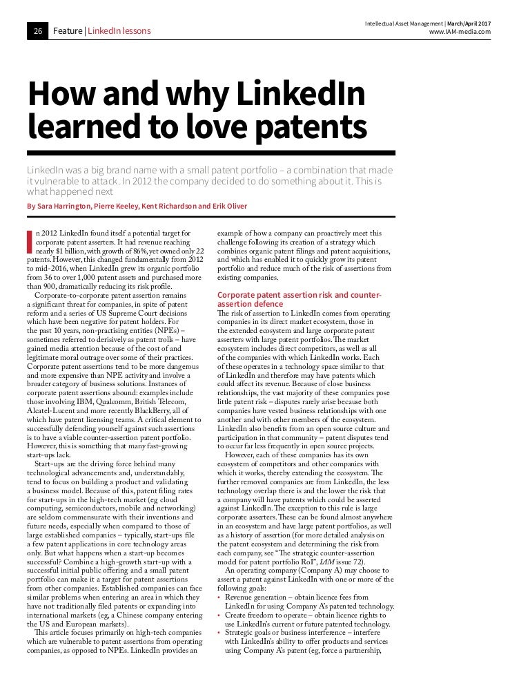 How And Why Linkedin Learned To Love Patents