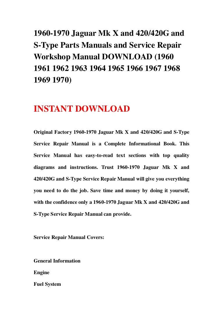 JAGUAR 420 OWNERS MANUAL HANDBOOK Parts & Accessories Manuals ...