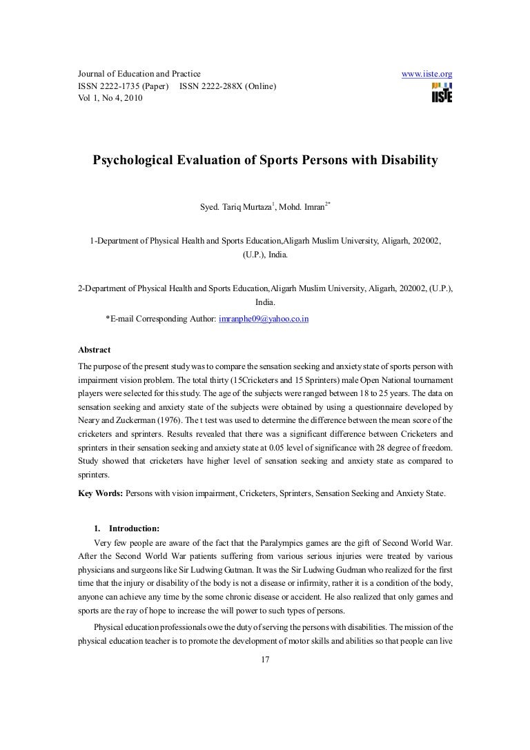 Psychological evaluations of sports persons with