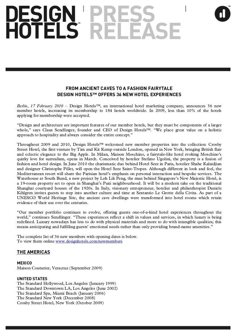 DESIGN HOTELSTM PRESS RELEASE