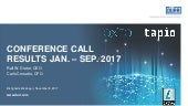 Dürr AG Conference Call Results Jan - Sep 2017