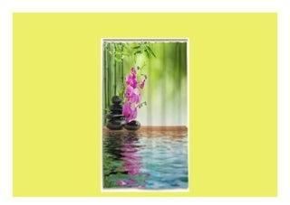 Beste Bewertung vinlin Floral Orchidee Japanischer Zen Stone Bambus Wasserdicht Badezimmer Zubehör Duschvorhang Duschvorhang 1676 x 1829 cm Polyester Multi 66x72 inch