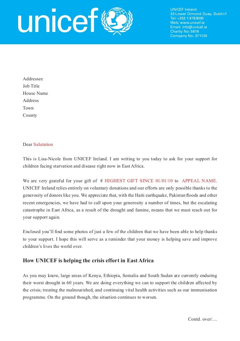 unicef east africa letter
