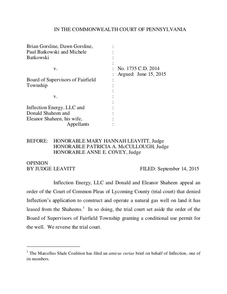 PA Commonwealth Court Decision Gorsline V Board Of Supervisors