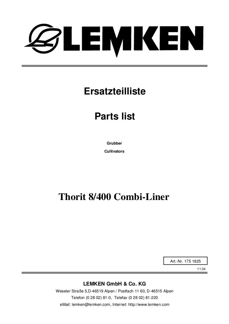 Lemken thorit 8-400 parts catalog