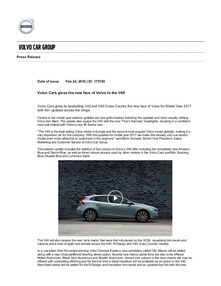 new car press releaseVolvo V40 Facelift  Press Release