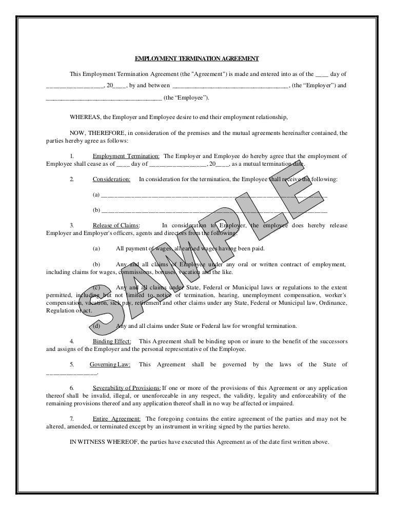 Sample Employment Termination Agreement Templates