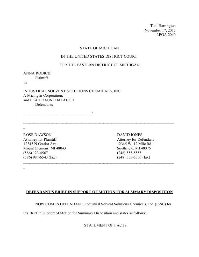 Toni Harrington legal brief