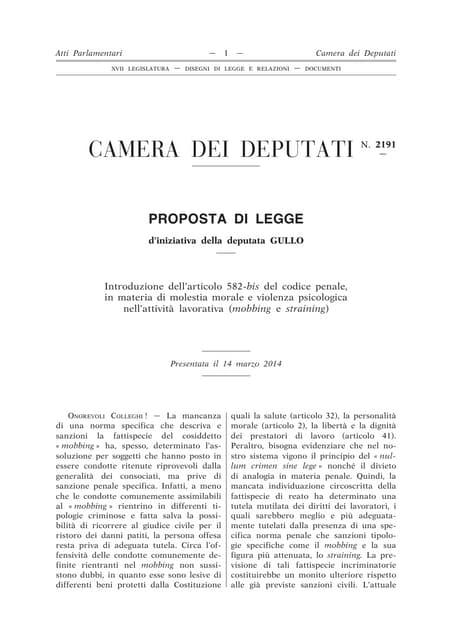 CAMERA DEI DEPUTATI N. 2191 - PROPOSTA DI LEGGE D'INIZIATIVA DELLA DEPUTATA GULLO