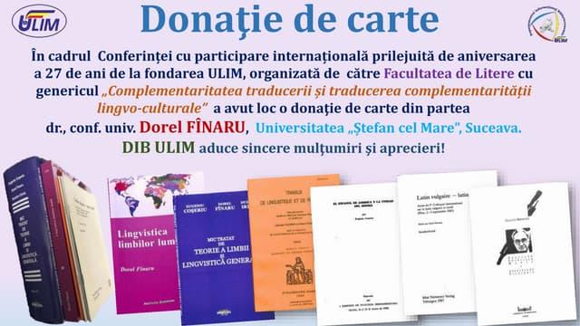 Donatie de carte din partea Facultații de Litere