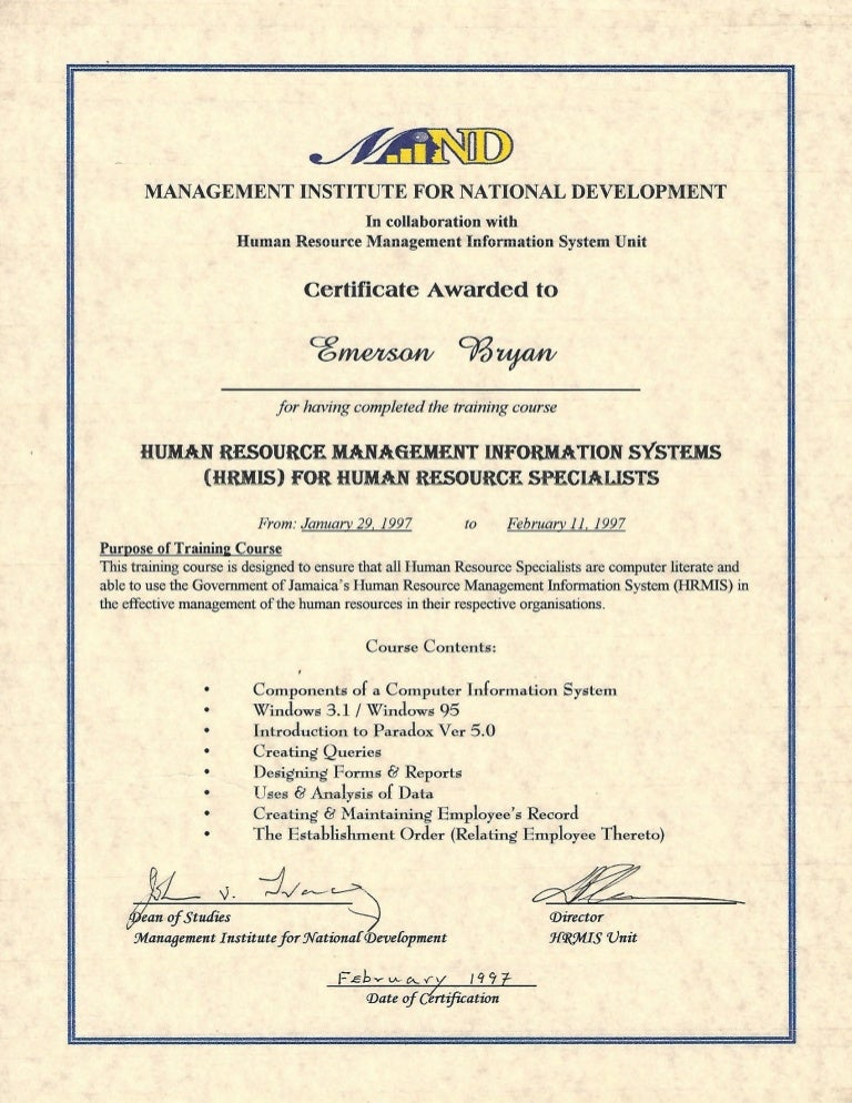 Certificate Human Resource Management Information Management Systems