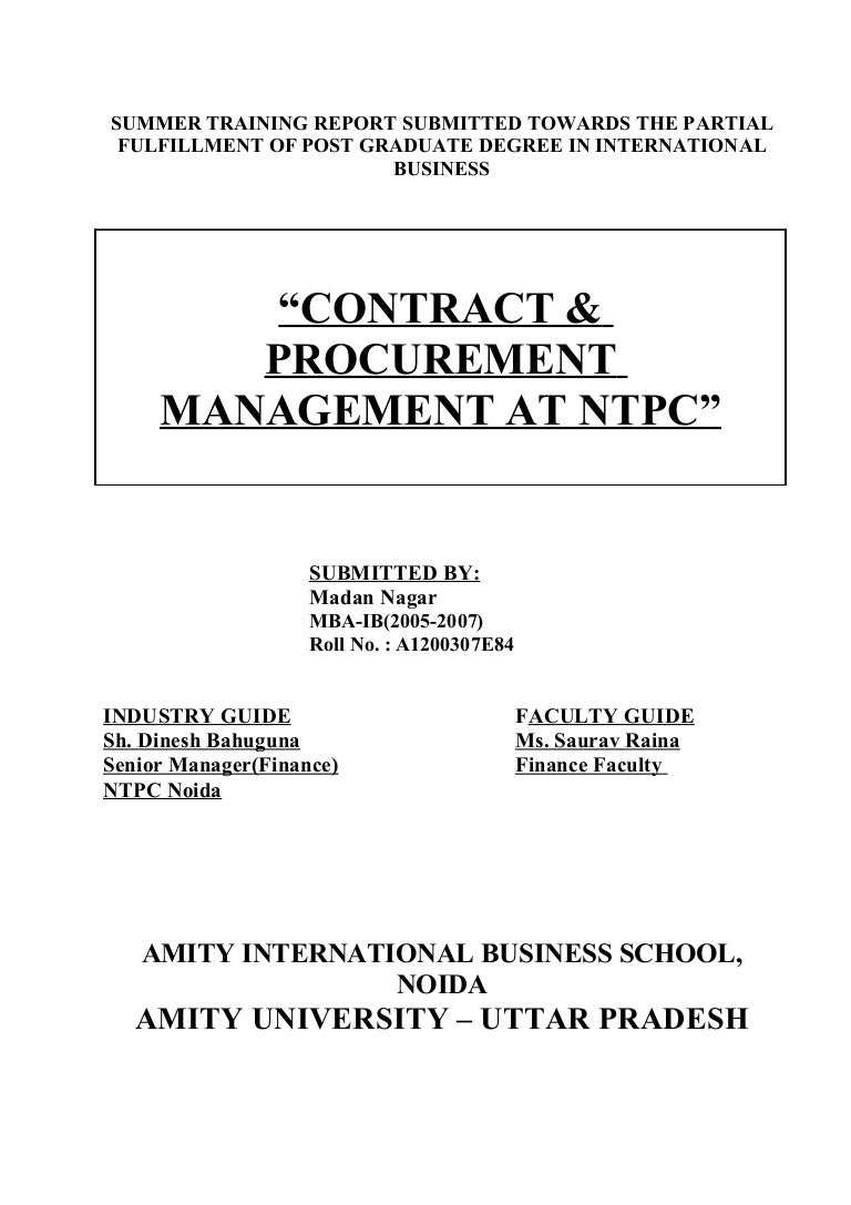 Contract procurement management report of ntpc nvjuhfo Images