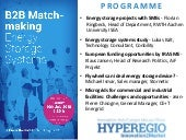 "B2B Matchmaking ""Energy storage continues its upswing – business an funding opportunities in the HYPEREGIO"" 