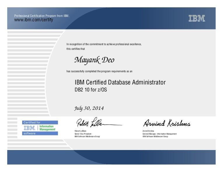 dba certified certification ibm associate database