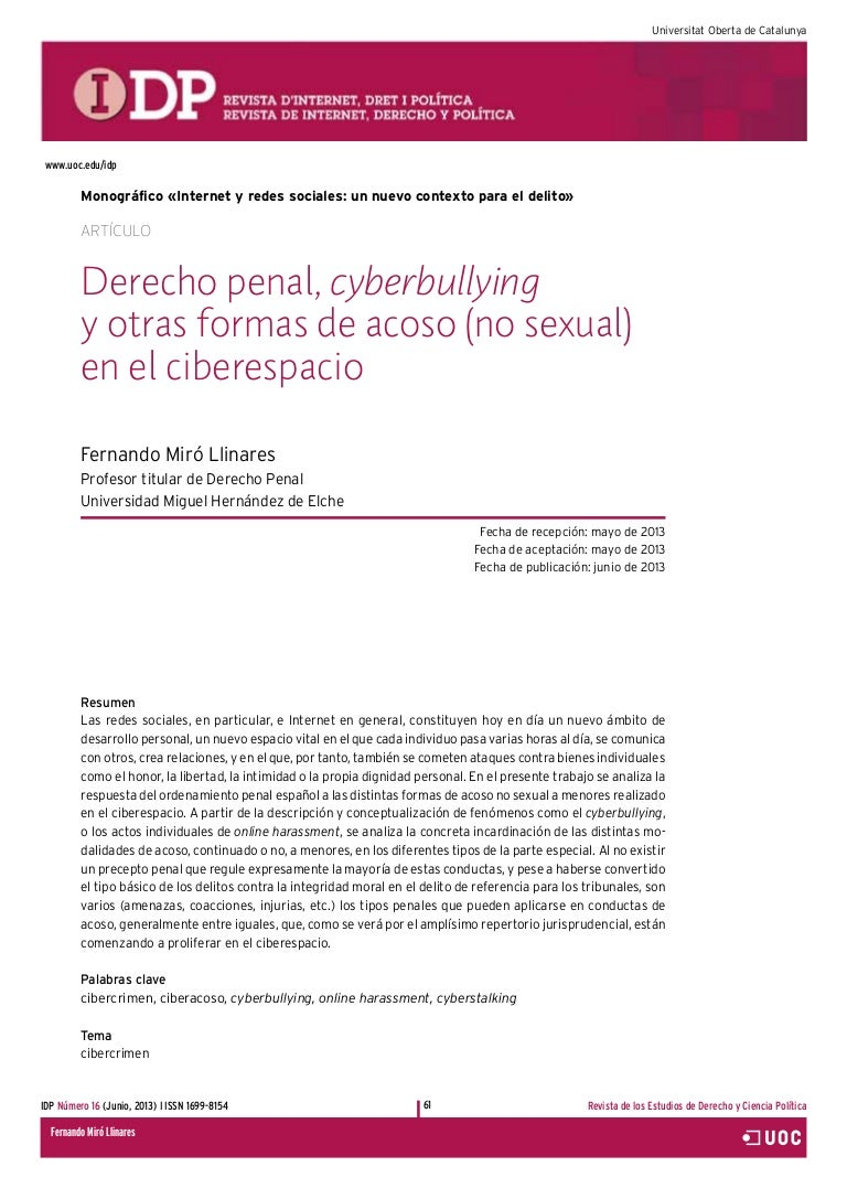 Derecho Penal, cyberbullying y otras formas de acoso 8no sexual) en e…