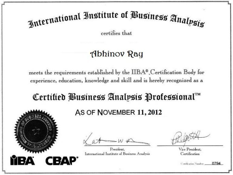 Business Analyst Certification Iiba