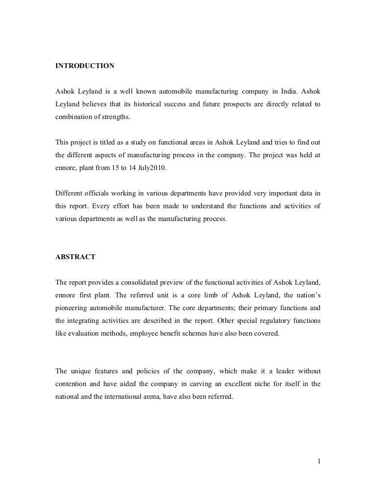 18677882 internship training in ashok leyland - Unique College Essay Examples