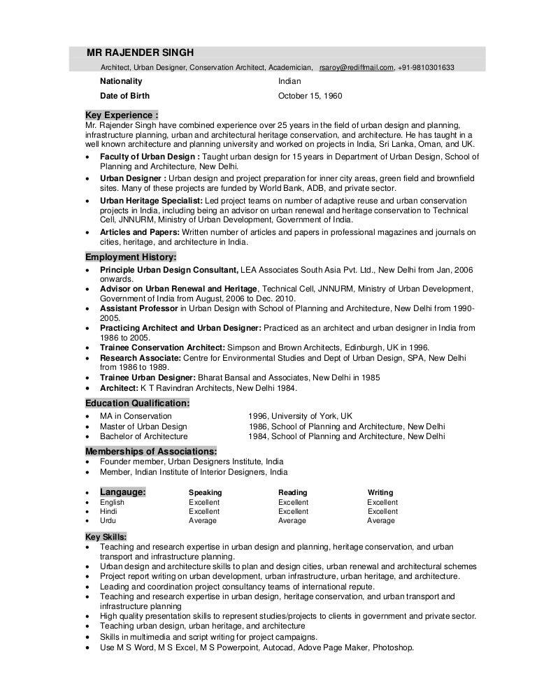 rajender singh brief resume 2012