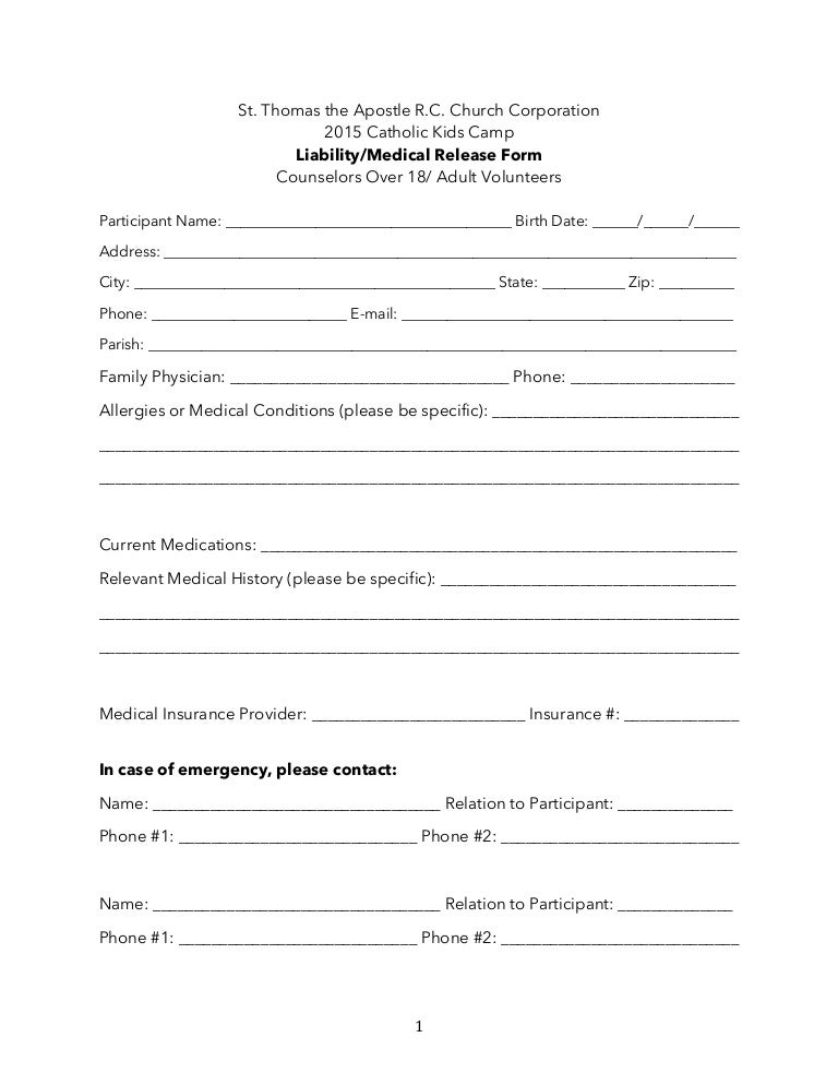 And Older Adult Liability Medical Release Form