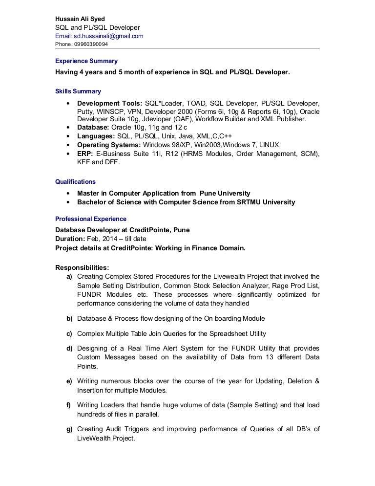 resume for database developer