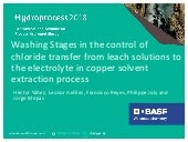 Washing Stages in the control of chloride transfer from leach solutions to the electrolyte in copper solvent extraction process