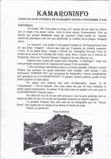 19. kamaroninfo núm. 19 nov 1997