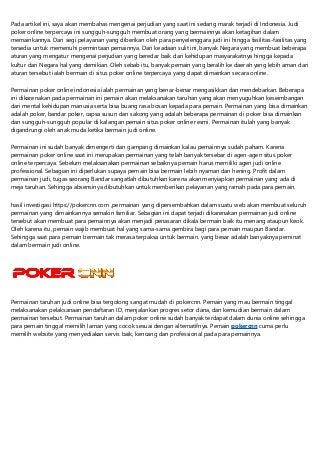 Situs Poker Online Terpercaya dan Terbaik Tahun 2019