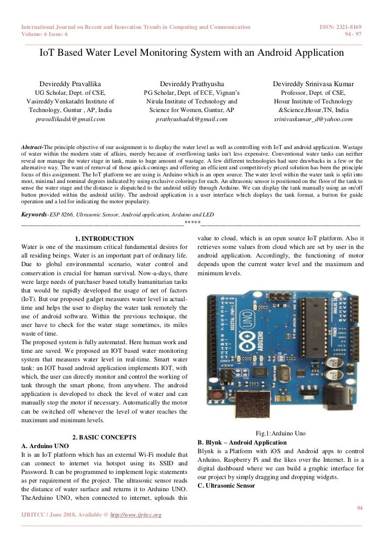 IoT Based Water Level Monitoring System with an Android Application
