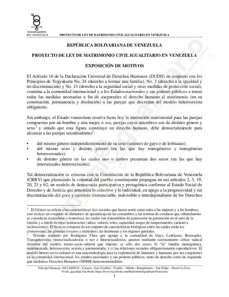 Matrimonio In Venezuela : Proyecto de ley matrimonio civil igualitario venezuela