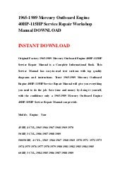 1965-1989 Mercury Outboard Engine 40HP-115HP Repair Manual