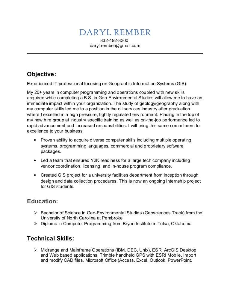 GIS Analyst Resume