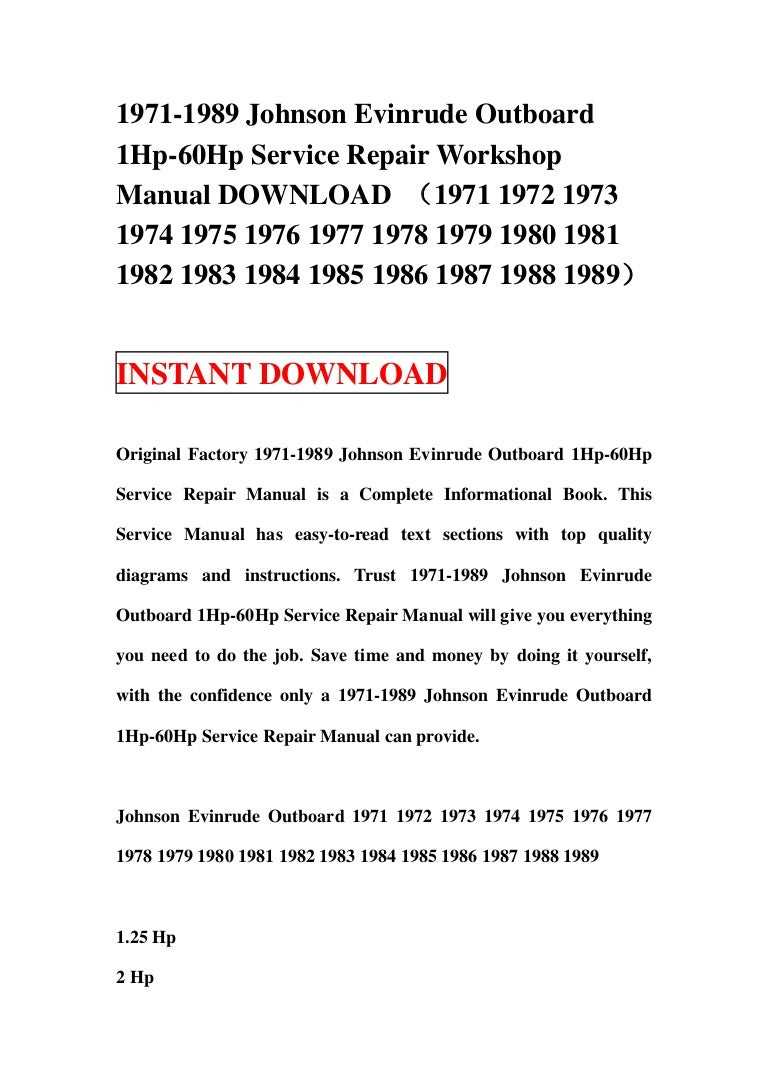 1983 Evinrude 35 Hp Service Manual Johnson Outboard Wiring Diagram 25 Also 1971 1989 1 60hp Repair Workshop Rh Slideshare Net 1980 1979