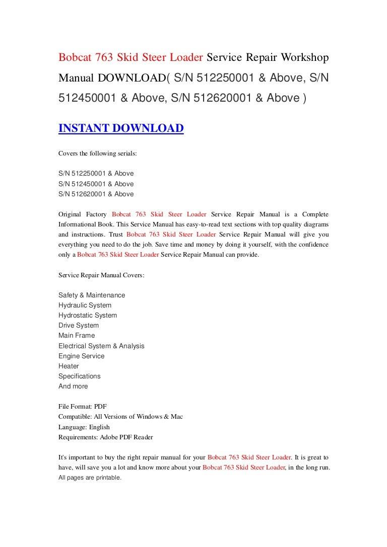 Bobcat 763 Skid Steer Loader Service Repair Workshop Manual Download 751 Wiring Diagram