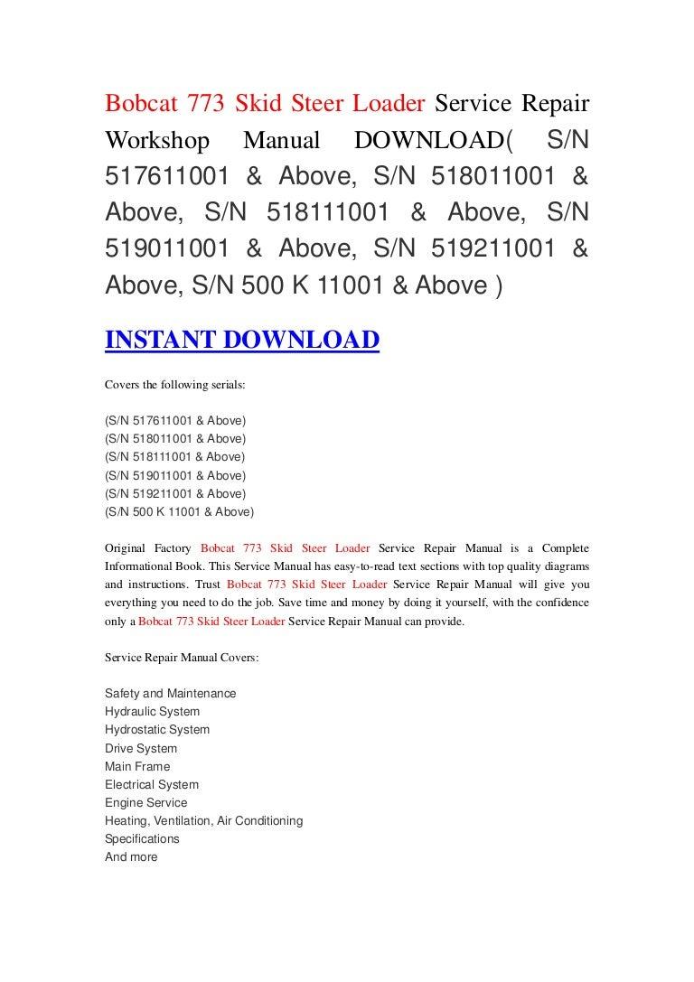 Bobcat 773 Skid Steer Loader Service Repair Workshop Manual Download Wiring Schematic