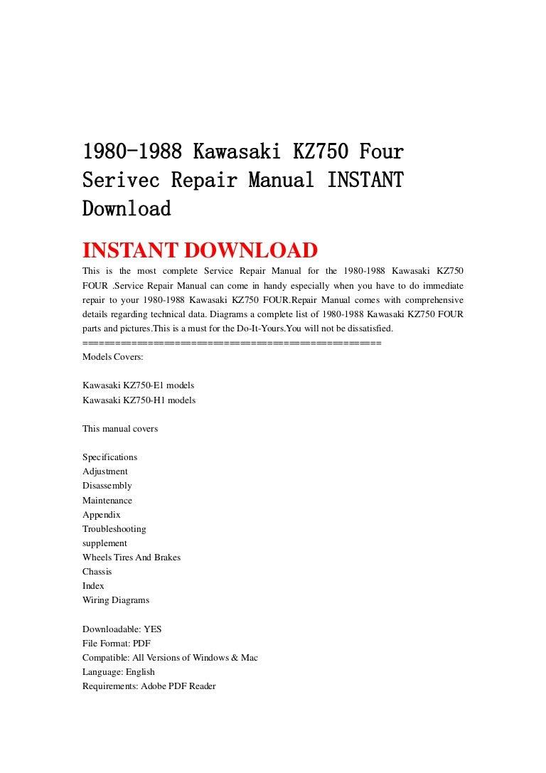 1980 1988 Kawasaki Kz750 Four Serivec Repair Manual Instant Download Wiring Schematic