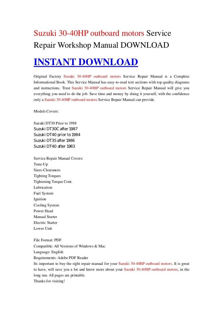 suzuki 30 40hp outboard motors service repair workshop manual download rh slideshare net 1996 Suzuki DT40 1996 40 HP Suzuki