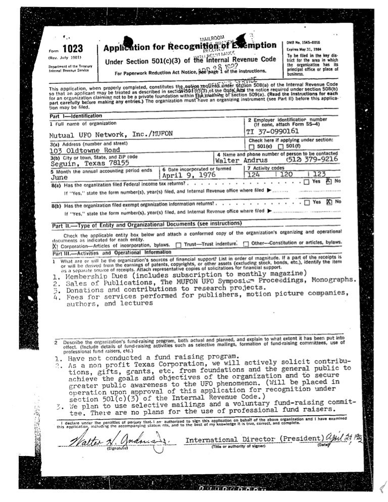 1982 Form 1023 Application For Non Profit Status