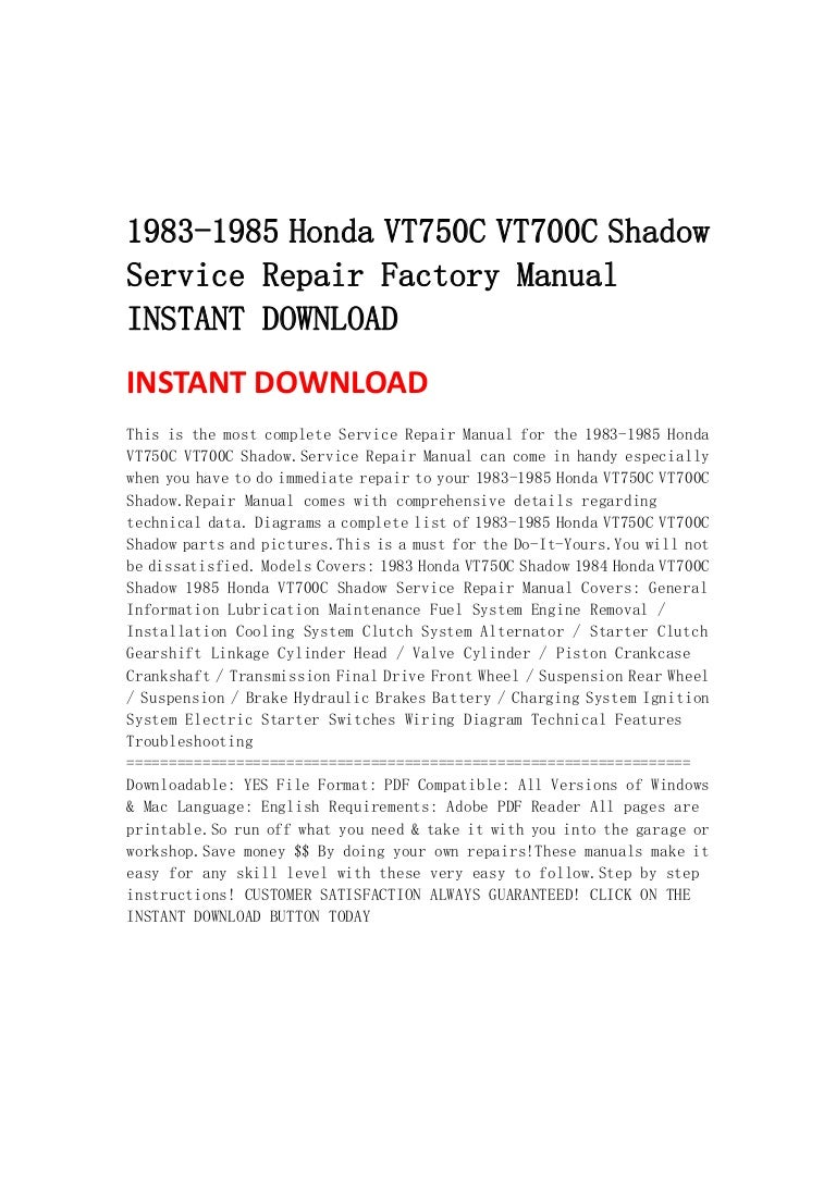 1983 1985 Honda Vt750 C Vt700c Shadow Service Repair Factory Manual I 1984 700 Wiring Diagram