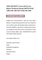bmw 325 325i convertible 1984 1990 service repair manual